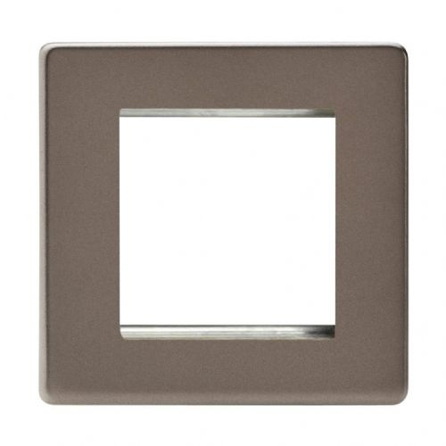 Varilight XDRG2S Screwless Pewter DataGrid Plate (2 DataGrid Spaces)
